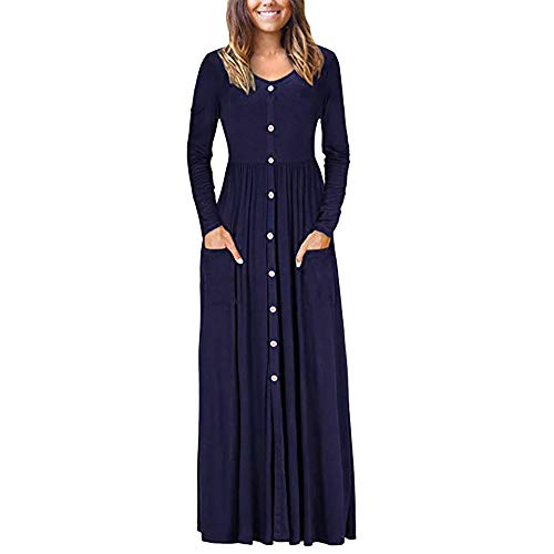 Morecome,2018 Women Autumn O Neck Button Casual Long Sleeve Ankle Length Long Dress Loose Party Dress