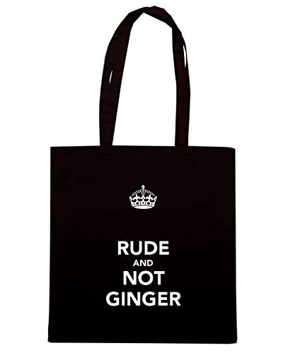 Borsa Shopper Nera TKC0739 KEEP CALM AND RUDE AND NOT GINGER