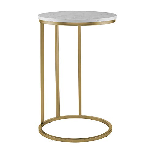 WE Furniture AZF16RCSTWM Modern Round Side End Table for Living Room, 16