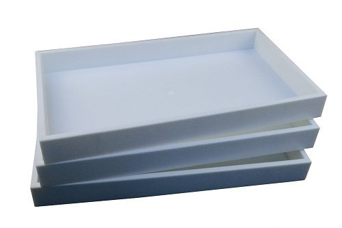 Regal Pak 3-Piece 1-Inch Deep White Full Size Plastic Stackable Jewelry Tray 14 3/4 X 8 1/4 X 1H (Trays Rectangular)