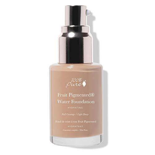 100% PURE Water Foundation (Fruit Pigmented), Warm 5.0, Full Coverage, Semi-Dewy Finish, For Normal, Dry Skin (Warm w/Peachy Undertones for Medium Skin) - 1 Fl Oz