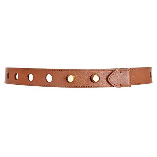 Michael Kors Women's Perforated Stud Closure Leather Skinny Belt, Nutmeg Brown (Medium/Large)