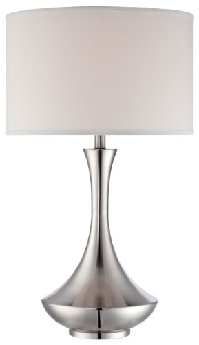 Lite Source LS-22079 Table Lamp with White Fabric Shades, Chrome Finish