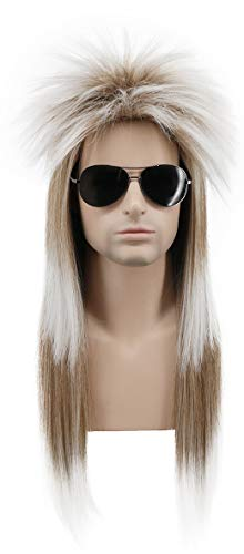 Karlery Men Long Straight Gradient 80's Rock Mullet Heavy Metal Wig Halloween Costume Cosplay Wig ()