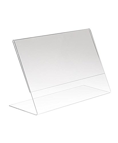 AMKO SHP1136 Slant Sign Holder Horizontal, Freestanding Frame, L-Frame, Slanted Clear Sign Holder, Clear Plastic, Does not Require Mounting, Easy in-and-Out Assembly (Pack of 5)