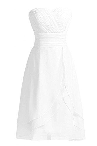 Cocktail da sera con corte Chiffon d'onore Sunvary damigella della vestito da abito Bianco pieghettato Sweetheart linea vTwgxO