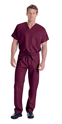 Landau Unisex V-Neck Scrub Top 7502 & Scrub Pant 7602 Medical Uniform Scrub Set (Wine - Small) (Reversible Solid Scrub)