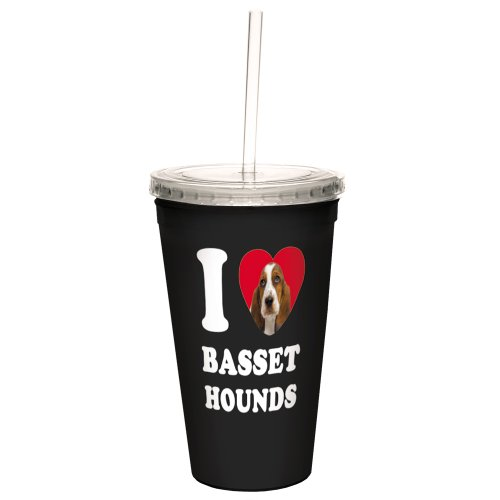 Tree-Free Greetings CC35002 I Heart Basset Hounds Artful Traveler Double-Walled Cool Cup with Reusable Straw, 16-Ounce Basset Hound Travel Mug
