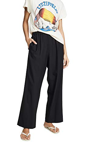 6397 Women's Tropical Wool Wide Leg Pull On Trousers, Black, Medium