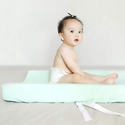Designthology (U.S.) Changing Pad Cover Set 100% Cotton Muslin 2 Pack, Gray & Lt Green - Soft & Breathable for Boys and Girls