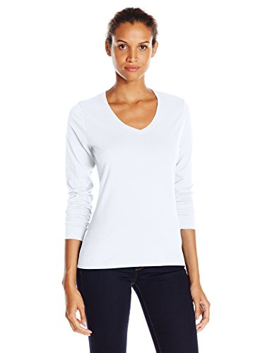 Hanes Women's V-Neck Long Sleeve Tee, White, Large -