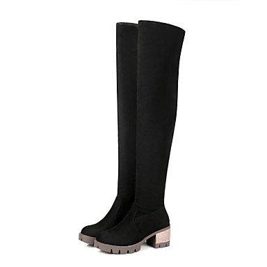 De Botas De CN35 US5 High Otoño 5 Zapatos De Talón Chunky Puntera Mujer Casual EU36 RTRY Marrón Thigh Invierno Nubuck Negro Botas Vestimenta Redonda Cuero Botas UK3 Para 5 Moda qUtXS