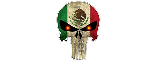 (2x Punisher Skull with distressed Mexico Flag Sticker Decal Terminator Grunge Style Car Truck Bumper Notebook)