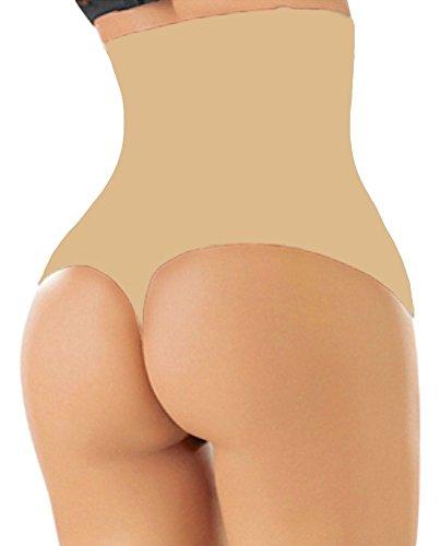 ShaperQueen-102 Women Waist Cincher Girdle Tummy Slimmer Sexy Thong Panty Shapewear (L, Nude )