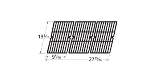 Music City Metals 61753 Gloss Cast Iron Cooking Grid Replacement for Gas Grill Model Brinkmann 810-1750-S, Set of 3