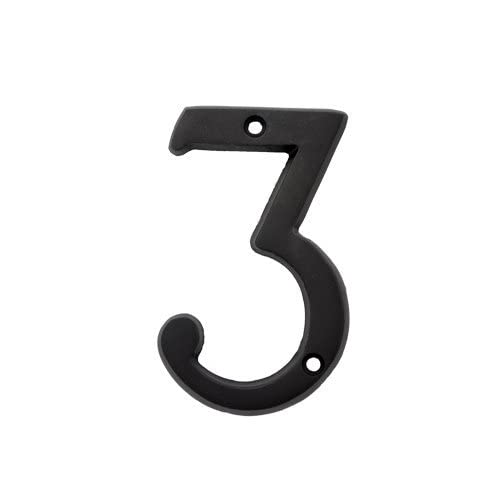 (#3) BOLTON 3 Inch Solid Brass Dark Oil Bronze Finish House Number Raised 1/6""
