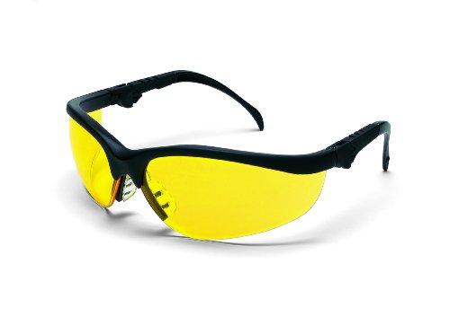 (MCR Crews KD314 Klondike Plus Safety Glasses Black Frame Amber Lens 1 Pair)