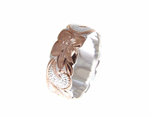 925 Sterling silver Hawaiian queen scroll pink rose gold plated 2 tone cut out edge ring size 6