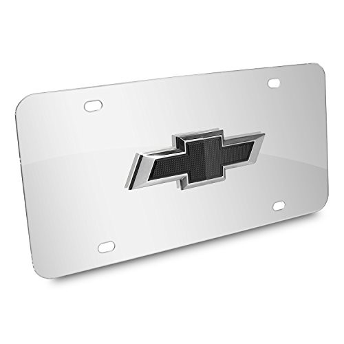 iPick Image Chevrolet 3D Black Bowtie Logo Chrome Stainless Steel License Plate