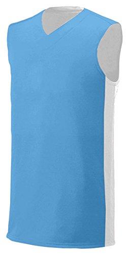 Light Blue Reversible T-shirt - A4 Men's Reversible Wicking Interlock Muscle T-Shirt, X-Large, Light Blue/White