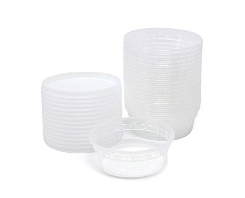 Plastic Food Storage Containers with Airtight Lids 8 oz. - PP FoodSafe Plastic, BPA Free, Restaurant Deli Cups, Foodsavers, Baby Lunch Container, Portion Control, and Meal Prep Containers, 24 Pack
