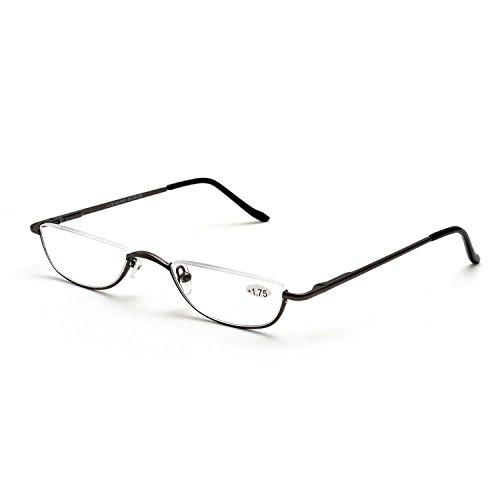 Inlefen demi lune de métallique femmes lecture charnière cadre et Pistolet cadre Hommes slim ressort lunettes gfxrIqg