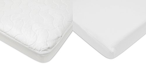 American Baby Company Crib Size Waterproof Mattress Pad Protector and Cotton Jersey Sheet Combo, White