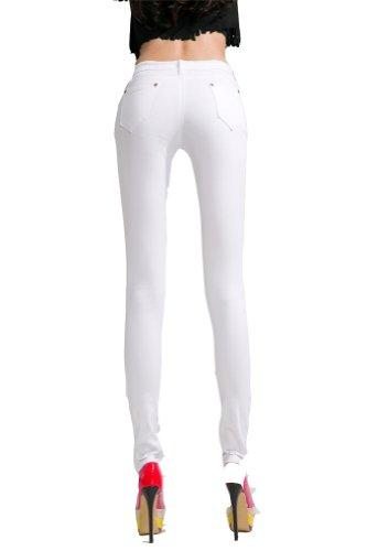 Para mujer Stretch Candy Cintura Baja lápiz pantalones Slim Fit Skinny Jeans pantalones blanco