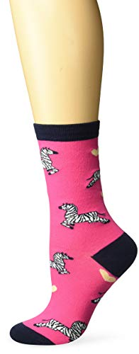 - K. Bell Women's Playful Animals Novelty Casual Crew Socks, Zebra (Fuchsia), Shoe Size: 4-10