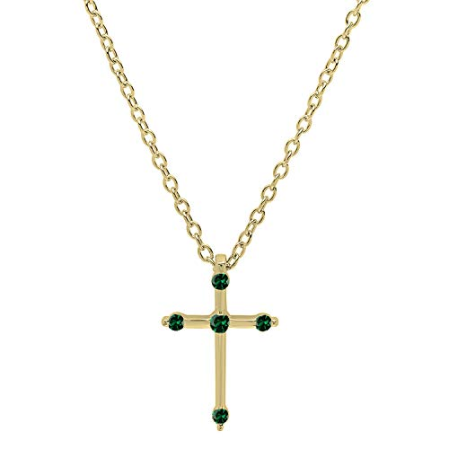 Dazzlingrock Collection 18K Round Lab Created Emerald Ladies Cross Pendant (Gold Chain Included), Yellow Gold