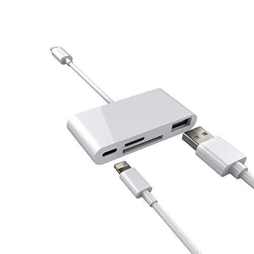 SD TF Card Reader, Leagway 4 in 1 Lightning to USB Camera Adapter, Trail Game Camera Card Viewer Reader, Micro SD Card Reader USB OTG Cable For iPhone X 8 - 4s Iphone Reader Card For