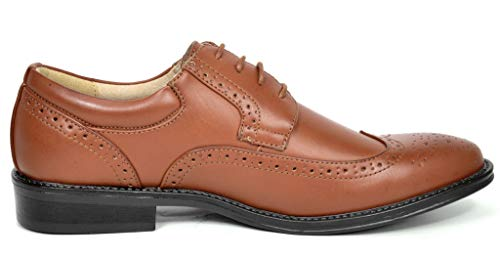 Bruno Marc London-03 Men's Classic Modern Oxfords Round-Toe Wingtip Comfort Lace Buckle Casual Dress Shoes, 3-BROWN, 8.5 D(M) US