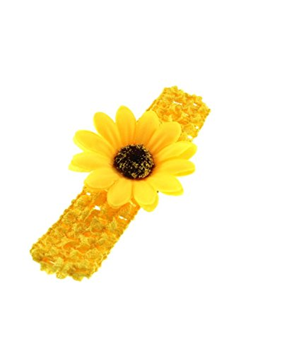 Zac's Alter Ego Baby Girl's Crochet Headband With Sunflower Approx. 13.5Cm X 3Cm Unstretched Yellow