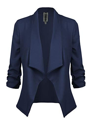 Instar Mode Women's Classic 3/4 Sleeve Open Front Blazer Jacket [S-3X] -Made in USA Navy Blue M