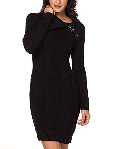 Lookbook Store Women's Black Asymmetric Button Collar Cable Knit Bodycon Sweater Dress ()