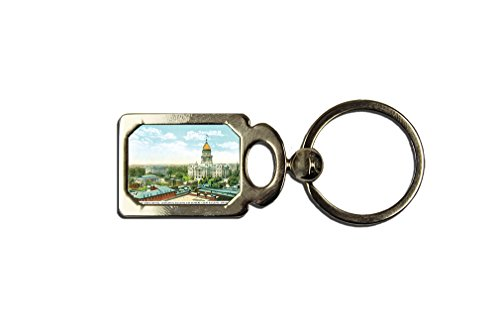 View Of State Capitol, Springfield, Il One Side Framed Metal Key Chain from Style in Print
