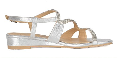 DREAM PAIRS Women's Formosa_1 Silver Low Platform Wedges Slingback Sandals Size 9 B(M) US by DREAM PAIRS (Image #2)