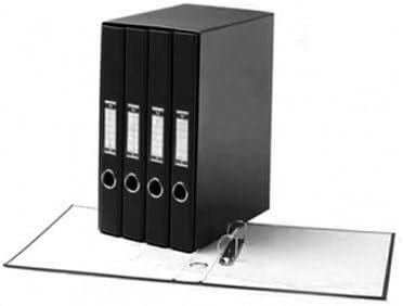 Uni-System 90649 - Caja de 4 archivadores (carpetas de 2 anillas mixtas, lomo con etiqueta para facilitar la identificación, ventana circular) negro: Amazon.es: Oficina y papelería