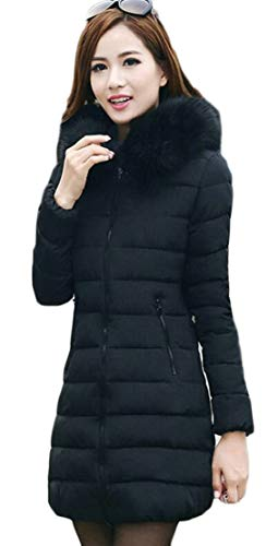 Long Women's Winter Jacket Fur Faux Down Down TTYLLMAO Puffer Warm Coat Hooded Parka Black SApdvAqw