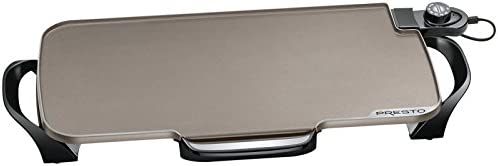 Presto 07062 Ceramic 22-inch Electric Griddle with removable handles Black Renewed