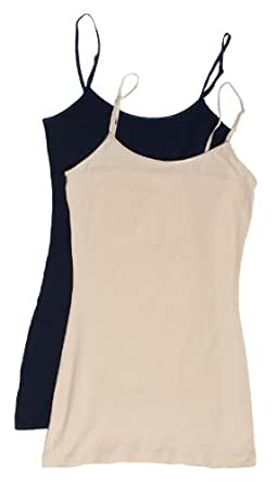 2 Pack Zenana Women's Basic Tank Tops Small Taupe, Navy