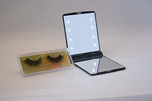 Mink 3D Black Extension False Eyelashes Natural Look Reusable 1 Pair with Black LED Lighted Makeup Mirror