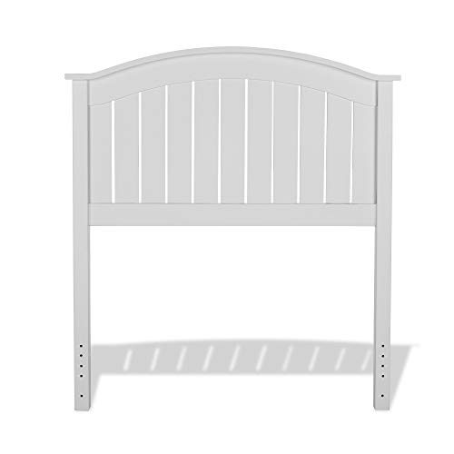 Leggett & Platt Finley Wood Headboard Panel with Curved Top Rail and Slatted Grill Design, White Finish, Twin (Twin Headboard Wooden)