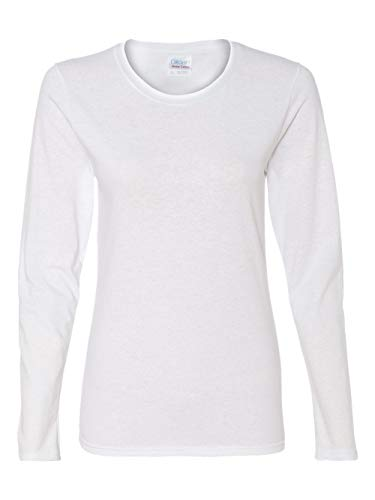 Gildan Heavy Cotton Ladies Missy Fit Long-Sleeve T-Shirt, Large, White ()