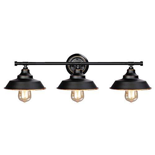 Windsor Vanity Light 3 (Windsor Home Deco WH-62310, Vanity Light, Retro Industrial Wall Lamp for Bathroom Lighting Over Mirror, Black)
