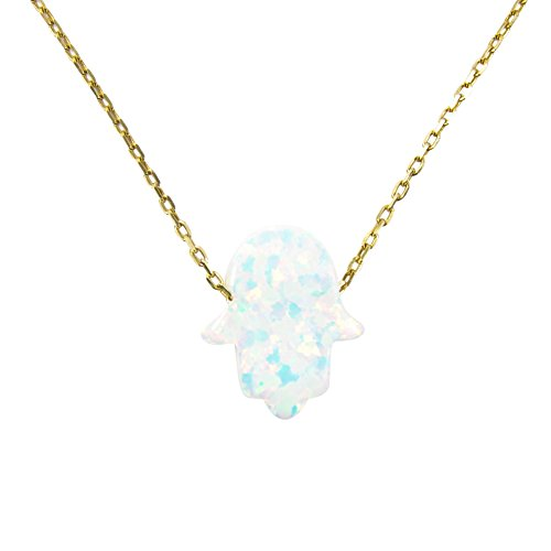 Gold Plated Opal Necklace - Martinuzzi Accessories White Opal Hamsa Necklace. Gold Plated 925 Sterling Silver Necklace (15 Inches)