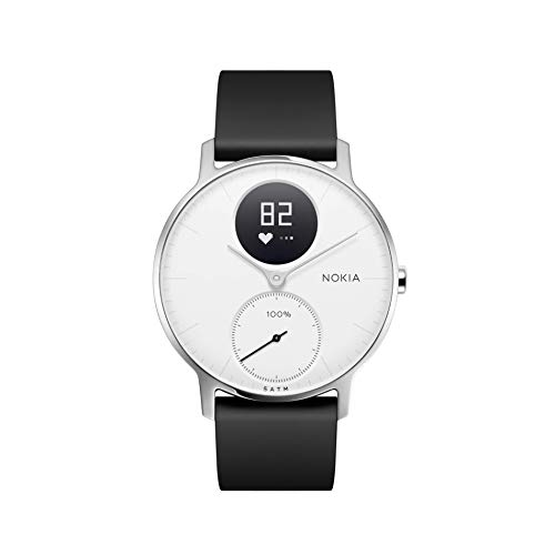 Nokia | Steel HR Hybrid Smartwatch - Activity Tracker, Heart Rate Monitor, Sleep Monitor, Water Resistant Smart Watch - Black Silicone Band (Silver/White, 36mm)