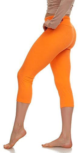 LMB Lush Moda Extra Soft Capri Leggings - Variety of Colors - Yoga Waist - Neon Orange