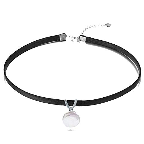 Love-mebetter Leather Pendant Necklace 8-9mm Tear Drop / 13-14mm Coin Pearl Freshwater Pearl Necklace 33 to 38cm Necklace,White Coin