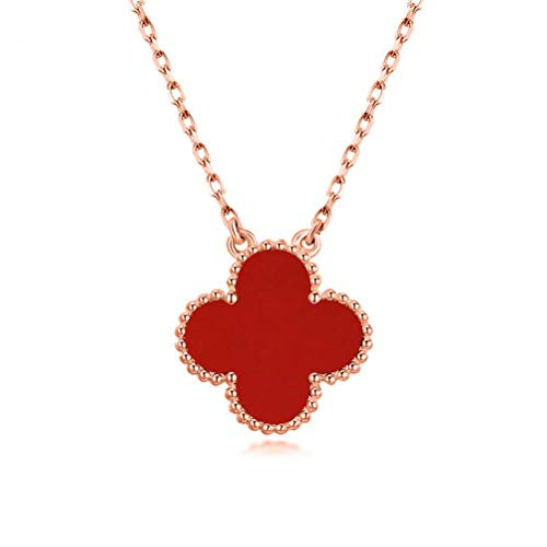 Women Black Onyx 18K Gold Plated Four-leaf Clover Necklace/Classic Fashion Leaf Van Cleef Pearl Clover Necklace,925 Sterling Silver Flower Shape Malachite Pendant Clavicle Chain